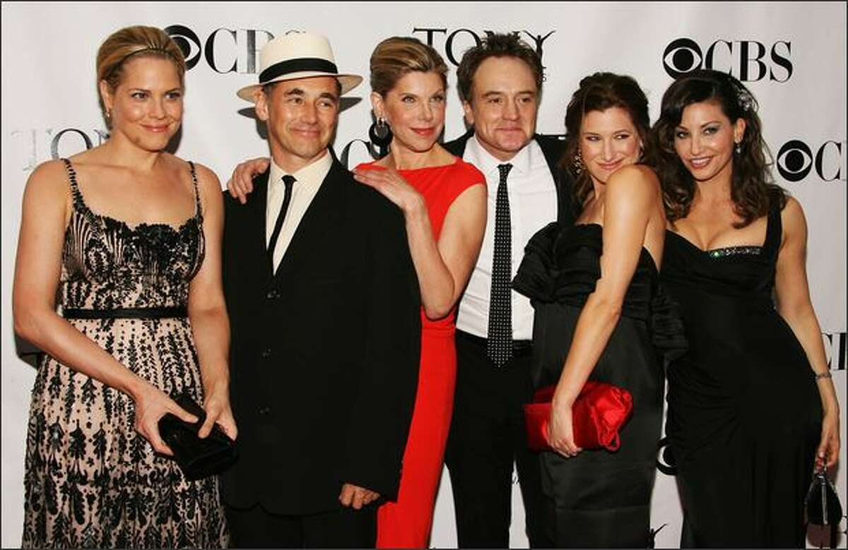 From left, Mary McCormack, Mark Rylance, Christine Baranski, Bradley Whitford, Kathryn Hahn and Gina Gershon arrive at the 62nd Annual Tony Awards held at Radio City Music Hall on Sunday in New York.