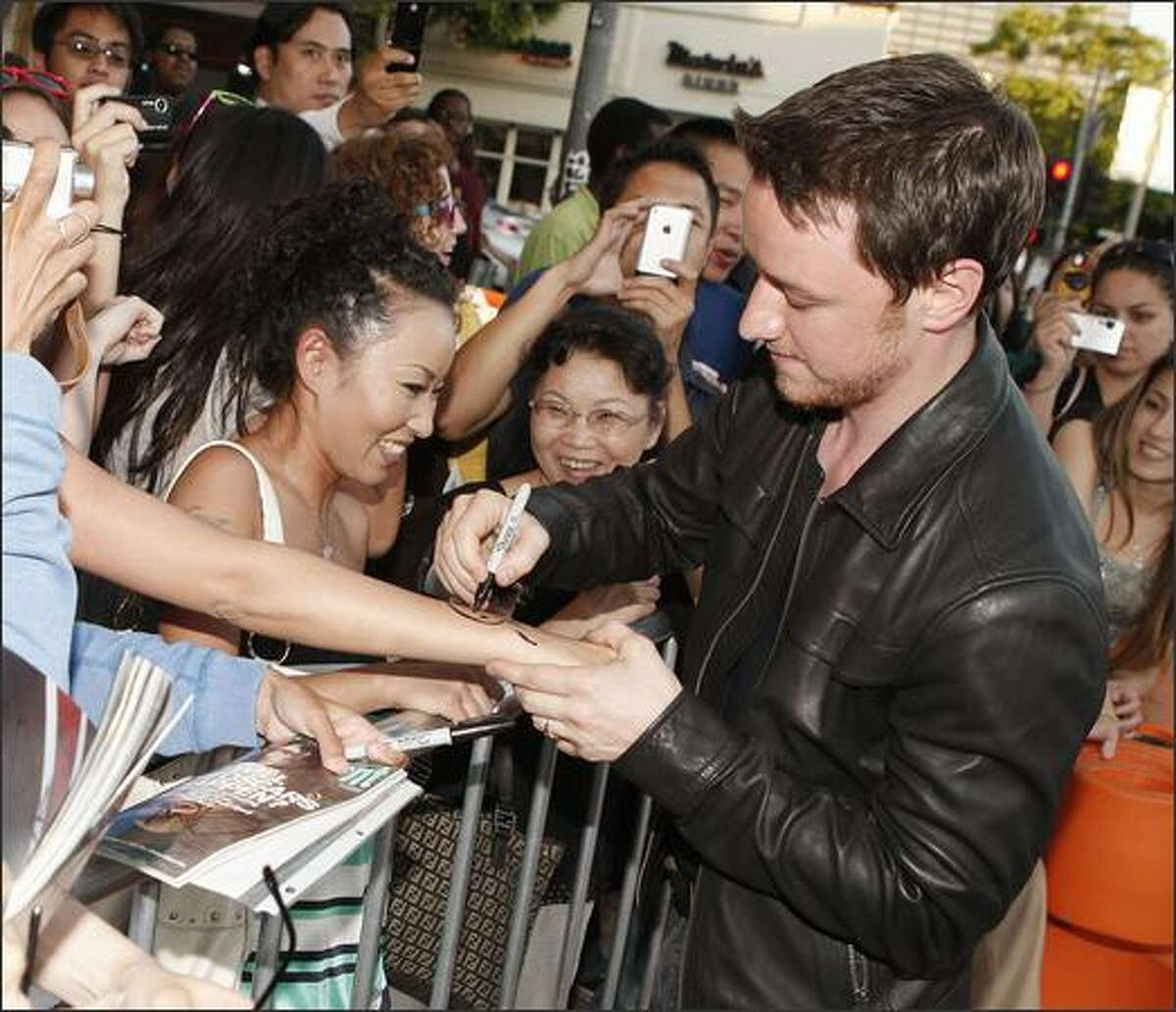 """Actor James McAvoy arrives at the opening of the Los Angeles Film Festival with the premiere of Universal's """"Wanted"""" at the Village Theater in Los Angeles, California."""