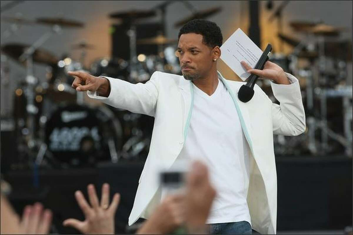 Will Smith opens the 46664 concert in celebration of Nelson Mandela's life at Hyde Park in London on Friday.