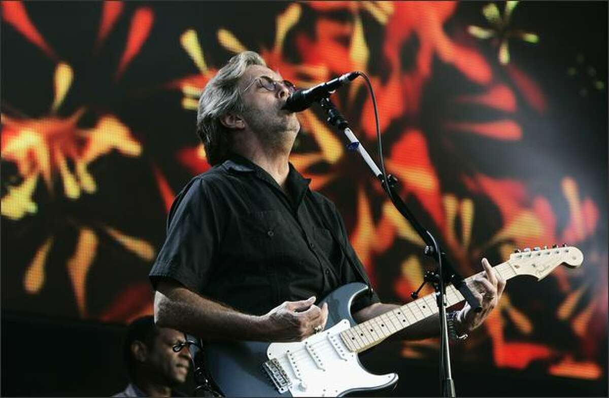 Eric Clapton performs at The Hard Rock Calling Festival on Saturday in London.