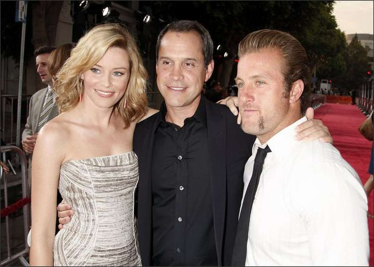 Actress Elizabeth Banks (L), director Brian Robbins and actor Scott Caan pose at the premiere of 20th Century Fox's