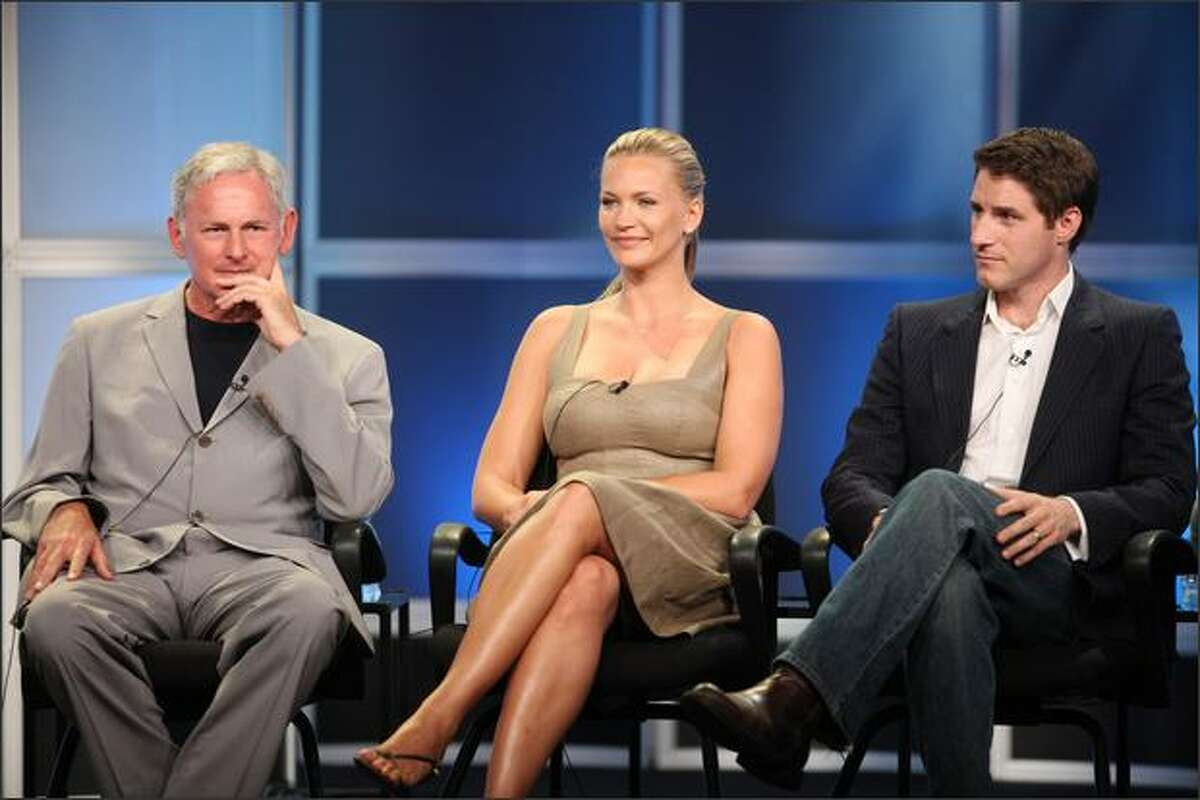 """Actors Victor Garber, Natasha Henstridge and Sam Jaeger of """"Eli Stone"""" answer questions during the ABC portion of the Television Critics Association Press Tour held at the Beverly Hilton hotel on Wednesday in Beverly Hills, Calif."""