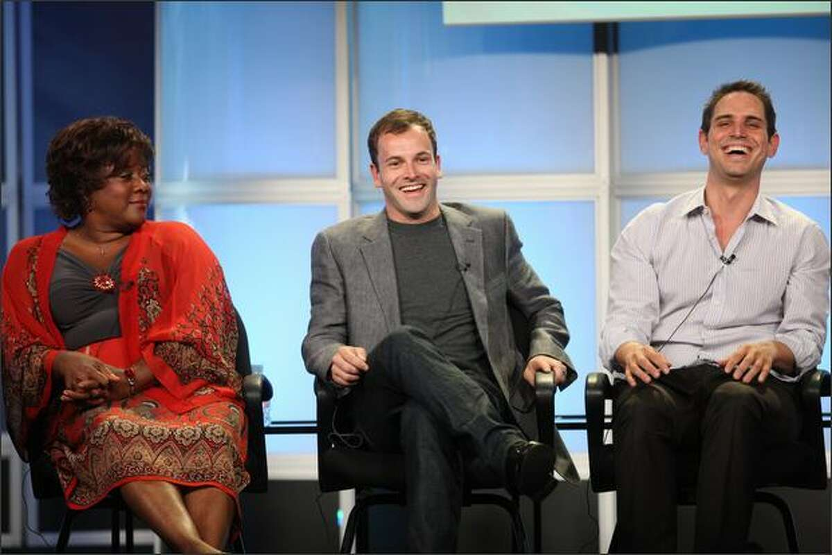 """Actress Loretta Devine, actor Jonny Lee Miller and Executive Producer Greg Berlanti of """"Eli Stone' during the ABC portion of the Television Critics Association Press Tour held at the Beverly Hilton hotel on Wednesday in Beverly Hills, Calif."""