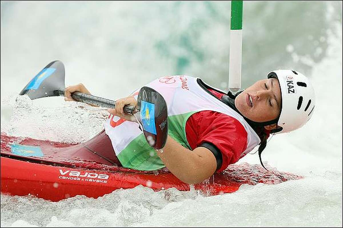 Yekaterina Lukicheva of Kazakhstan competes in the canoe/kayak slalom event at the Shunyi Olympic Rowing-Canoeing Park during Day 5 of the Beijing 2008 Olympic Games in Beijing, China. (Photo by Jed Jacobsohn/Getty Images)