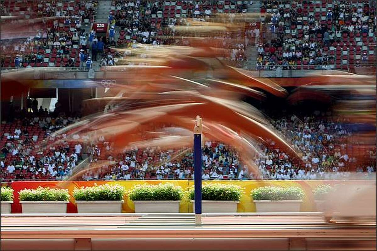 The Women's Heptathlon 100m Hurdles Heats at the National Stadium on Day 7 of the Beijing 2008 Olympic Games in Beijing, China. (Photo by Jed Jacobsohn/Getty Images)