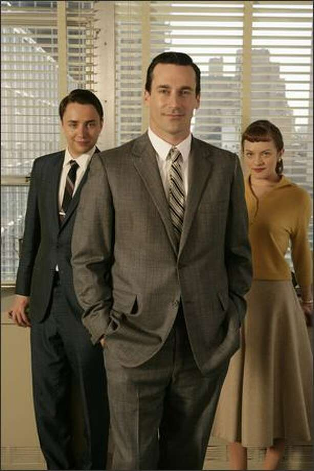 "Vincent Kartheiser, Jon Hamm and Elisabeth Moss star in the AMC drama series ""Mad Men."" The show as nominated for Best Drama and Hamm was nominated for Best Actor in a Drama Series."