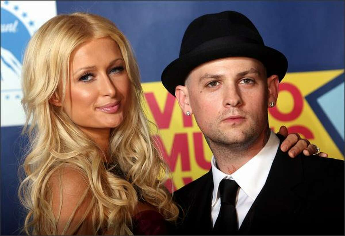 TV personality Paris Hilton and musician Benji Madden pose in the press room at the 2008 MTV Video Music Awards at Paramount Pictures Studios on Sunday in Los Angeles, Calif.