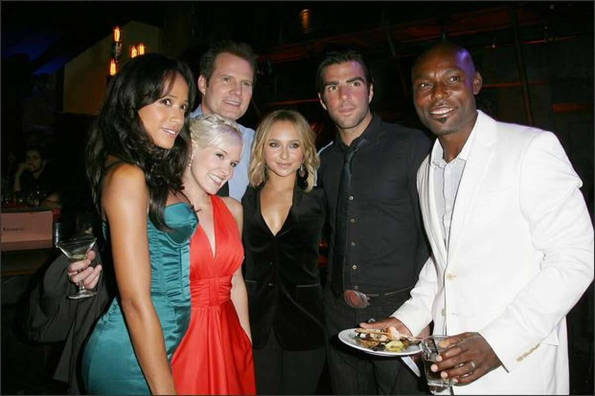 """(From L to R) Dania Ramirez, Brea Grant, Jack Coleman, Hayden Panettiere, Zachary Quinto and Jimmy Jean-Louis attend at NBC's Countdown To The Premiere Of """"Heroes"""" on Sunday in Los Angeles, Calif."""