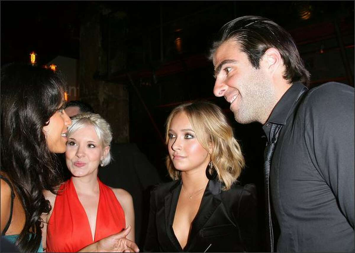"""(From L to R) Dania Ramirez, Brea Grant, Hayden Panettiere, Zachary Quinto attend at NBC's Countdown To The Premiere Of """"Heroes"""" on Sunday in Los Angeles, Calif."""