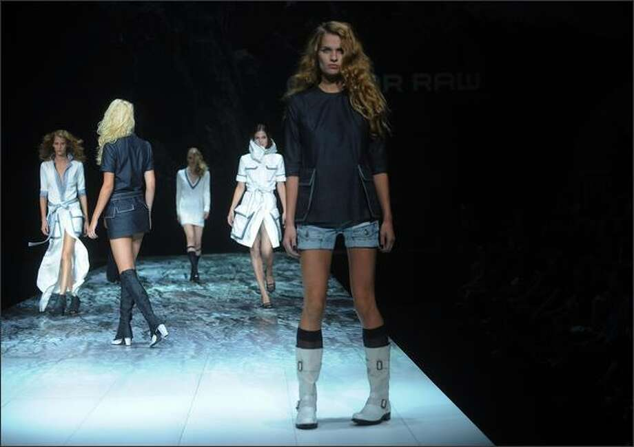 A model walks the runway at the G Star show. Photo: Getty Images