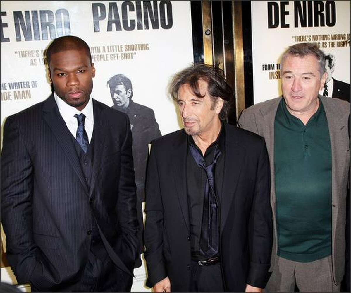 (L-R) Curtis Jackson, Al Pacino and Robert De Niro attend the UK premiere of