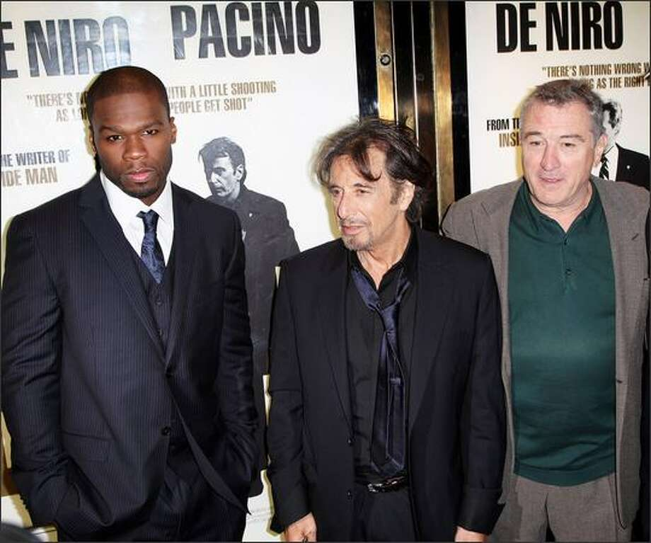 """(L-R) Curtis Jackson, Al Pacino and Robert De Niro attend the UK premiere of """"Righteous Kill"""" at the Empire cinema, Leicester square in London, England. Photo: Getty Images"""