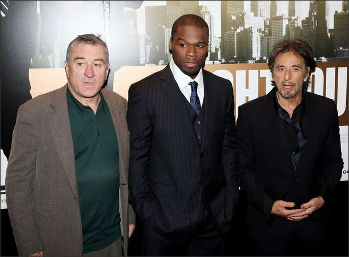 (L-R) Robert De Niro, Curtis Jackson aka 50 Cent and Al Pacino attend the UK premiere of