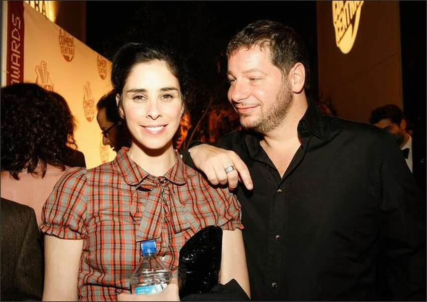 Comedians Sarah Silverman and Jeffrey Ross attend Comedy Central's Emmy Awards party at the STK restaurant on Sunday in Los Angeles.