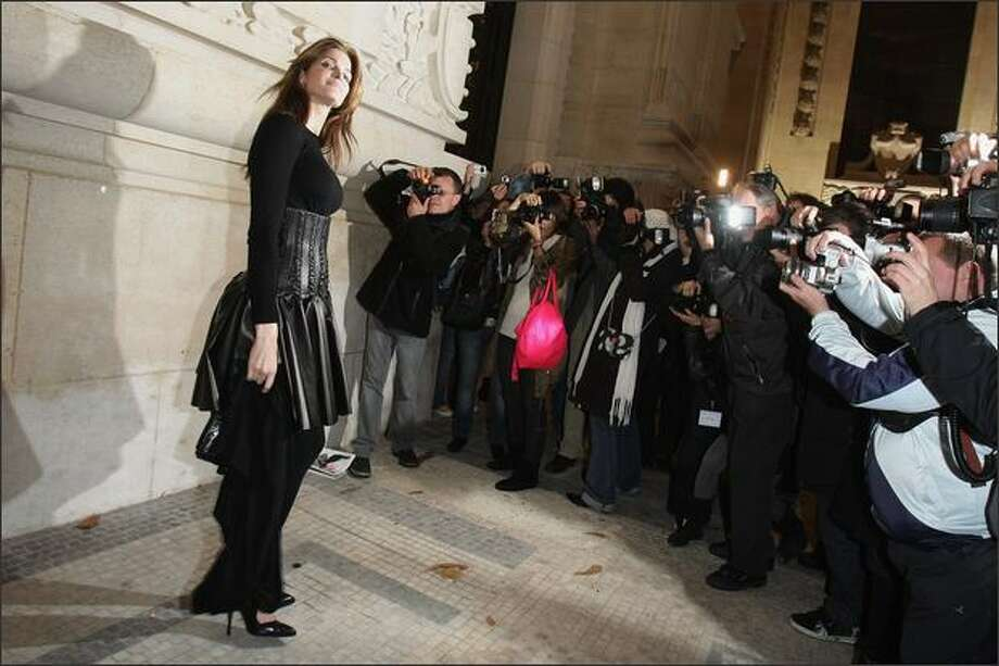 Stephanie Seymour arrives at Yves Saint Laurent show during Paris Fashion Week at Grand Palais on Friday in Paris, France. Photo: Getty Images