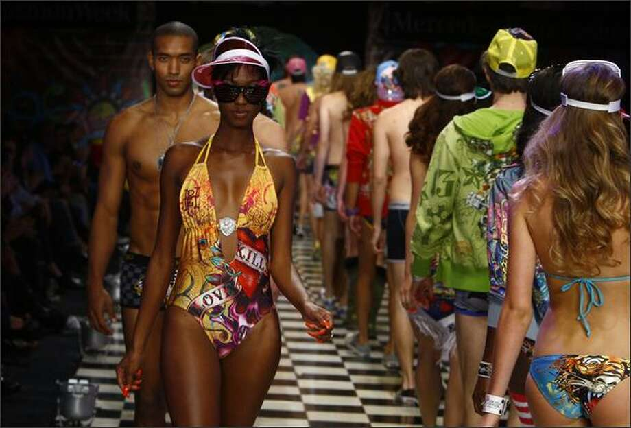 Models walk the runway at the Ed Hardy Presents Street Fame By Christian Audigier Spring 2009 fashion show during Mercedes-Benz Fashion Week held at Smashbox Studios on Monday in Culver City, Calif. Photo: Getty Images