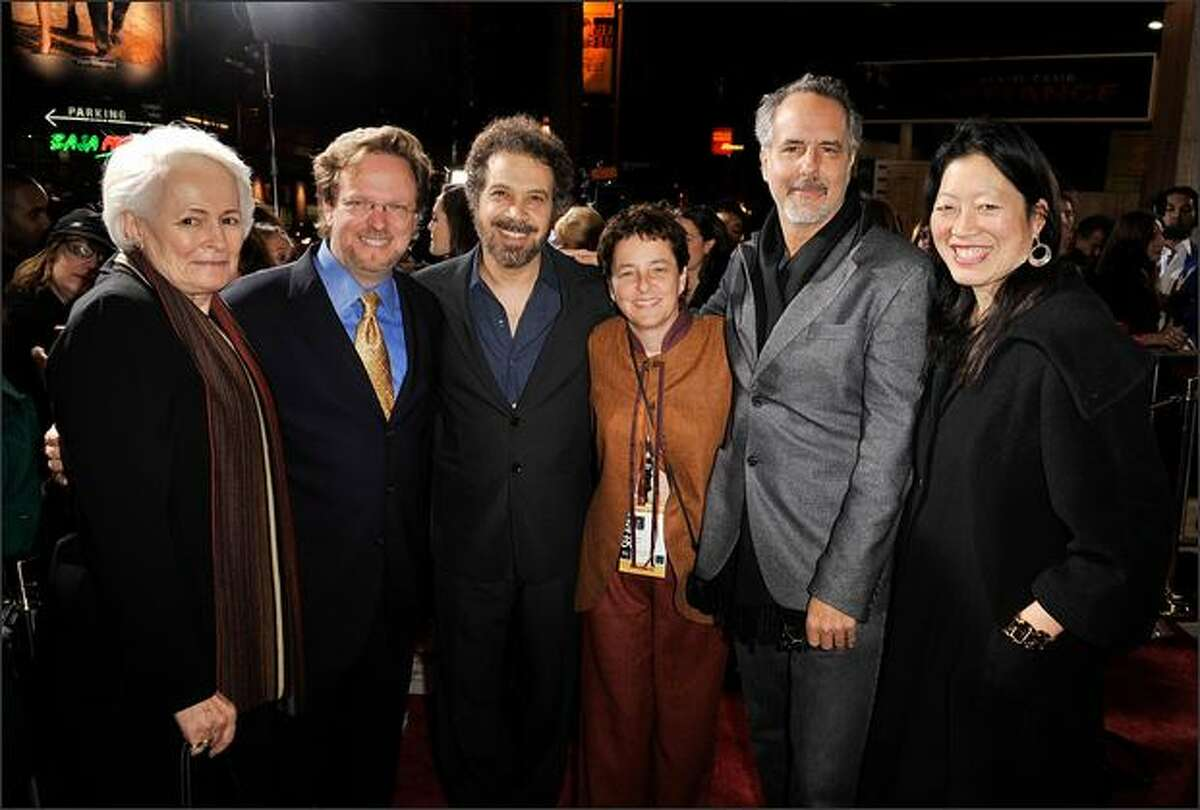 (L-R) AFI President Emerita Jean Picker Firstenberg, AFI President & CEO Bob Gazzale, writer/director Edward Zwick, AFI COO Nancy Harris, producer/director Jon Avnet, and AFI Artistict director Rose Kuo arrive at the 2008 AFI FEST Closing Night Gala Screening of