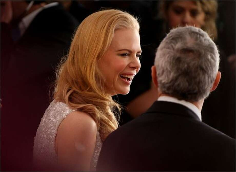 "Nicole Kidman gets interviewed on the red carpet for the world premiere of ""Australia"" at the George Street Greater Union Cinemas on Tuesday in Sydney. Photo: Getty Images"