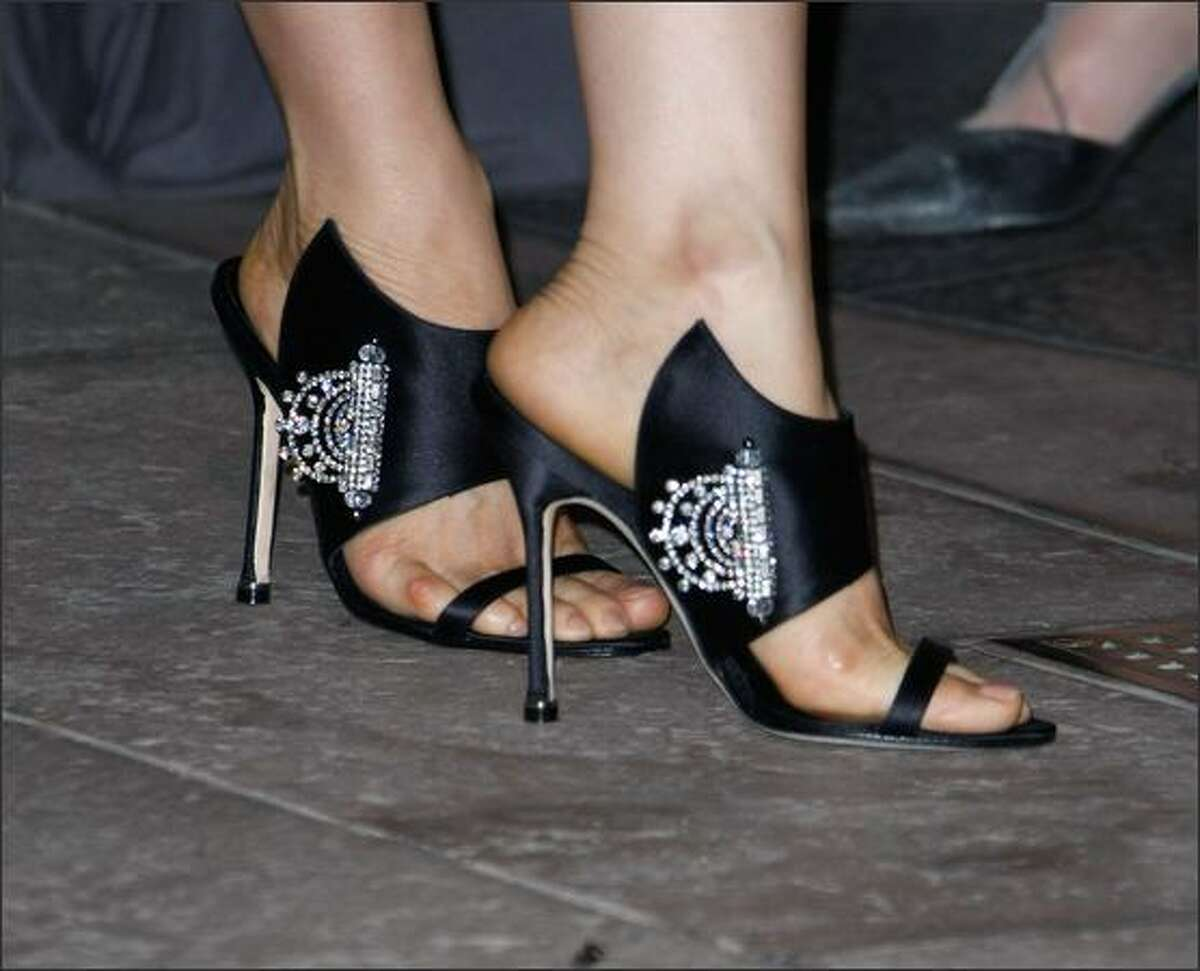 The shoes worn by Lucy Liu attending the Rodeo Drive Walk of Style Award honoring shoe designer Manolo Blahnik on Rodeo Drive in Los Angeles, Sept. 25, 2008.