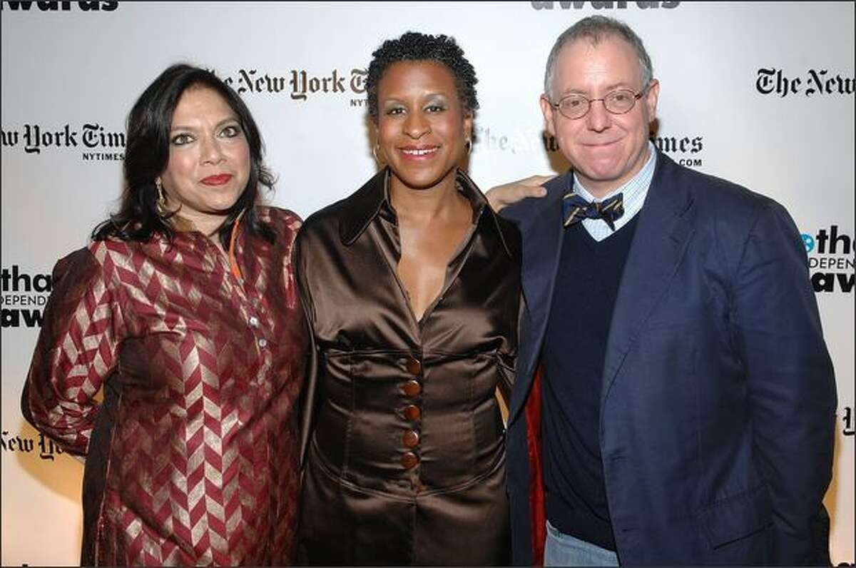 Director Mira Nair, Executive Director of IFP Michelle Byrd, and producer James Schamus attend the 18th Annual Gotham Independent Film Awards at Museum of Finance on Tuesday in New York City.