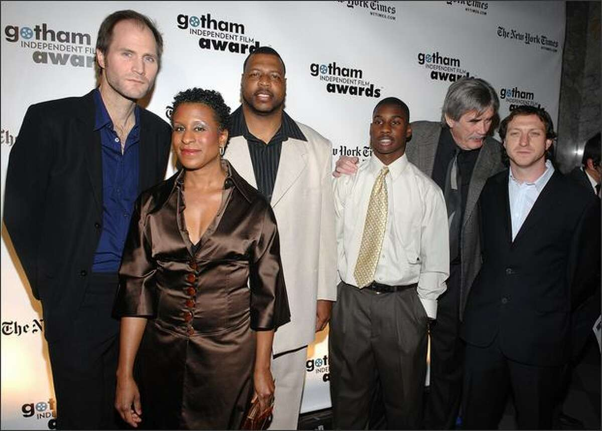Director/Producer Lance Hammer, actor Michael J. Smith, Executive Director of IFP Michelle Byrd, actors Jim Myron Ross, and Johnny McPhail attend the 18th Annual Gotham Independent Film Awards at Museum of Finance on Tuesday in New York City.