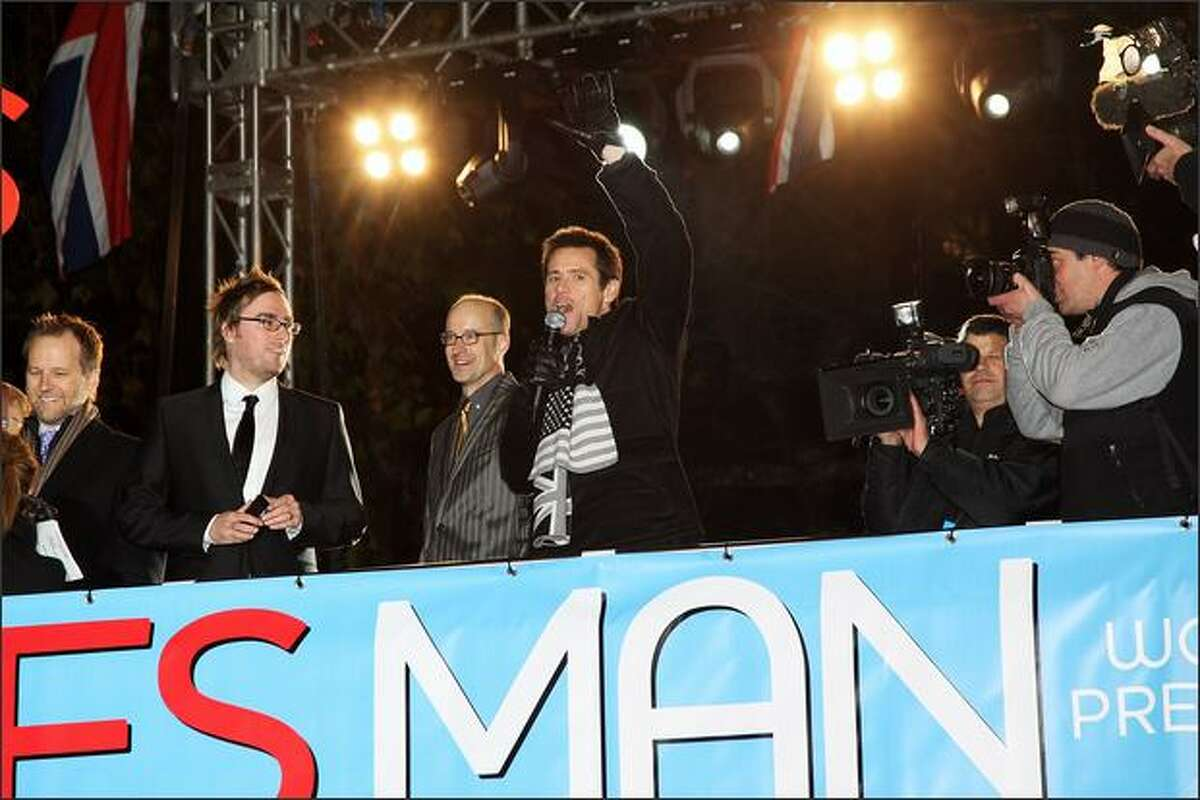 L-R Danny Wallace, Peyton Reed and Jim Carrey attend the premiere of 'Yes Man' at the Vue cinema, Leicester Square on Tuesday in London, England.