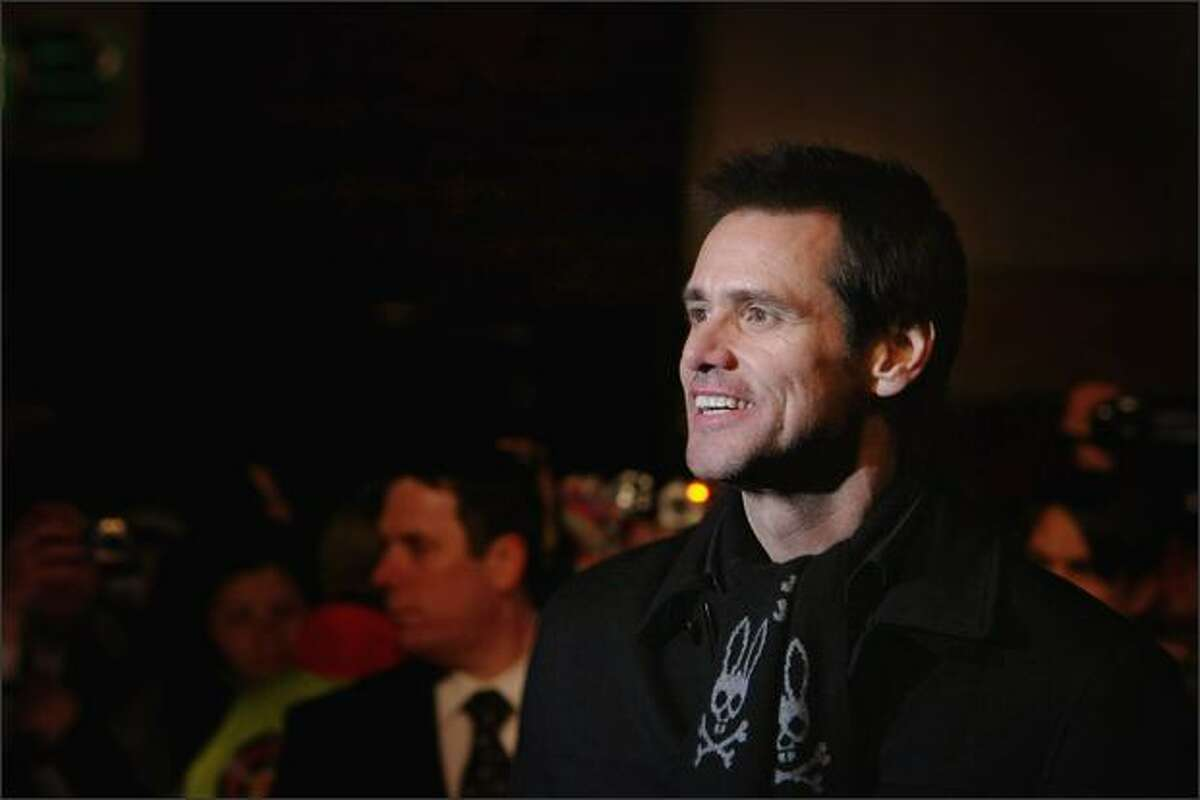 Jim Carrey attends the premiere of 'Yes Man' at the Vue cinema, Leicester Square on Tuesday in London, England.