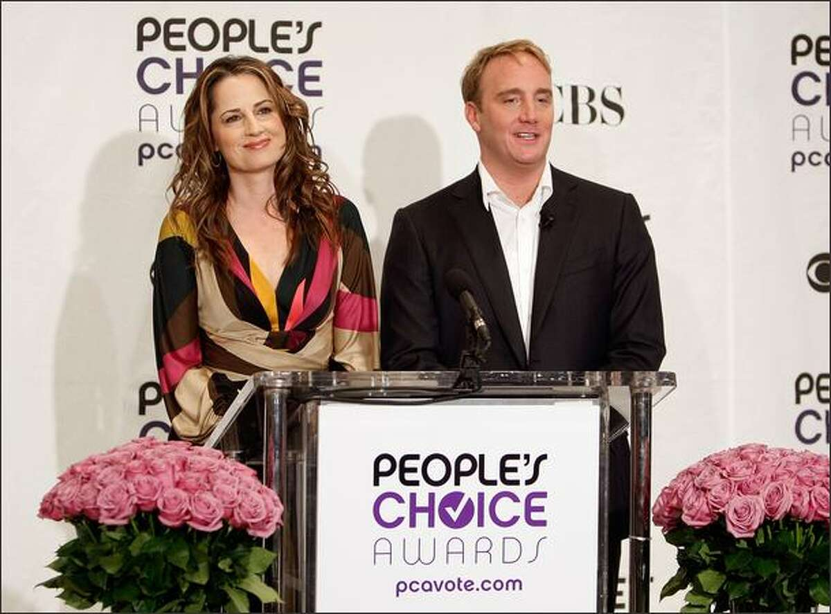 Actor Jay Mohr, left, and actress Paula Marshall speak at the 35th annual People's Choice Awards nominations held at the Peninsula Hotel on Nov. 10, 2008, in Beverly Hills, Calif.