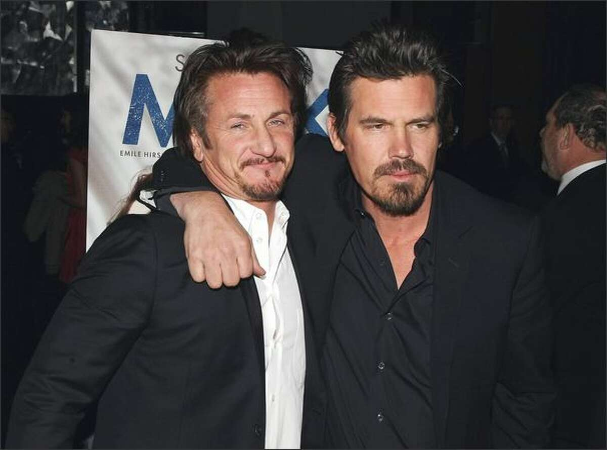 Actors Sean Penn, left, and Josh Brolin attend the 2008 New York Film Critic's Circle Awards at Strata on Monday in New York City.