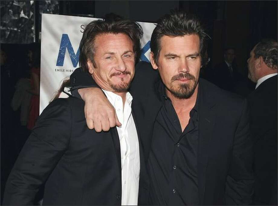 Actors Sean Penn, left, and Josh Brolin attend the 2008 New York Film Critic's Circle Awards at Strata on Monday in New York City. Photo: Getty Images