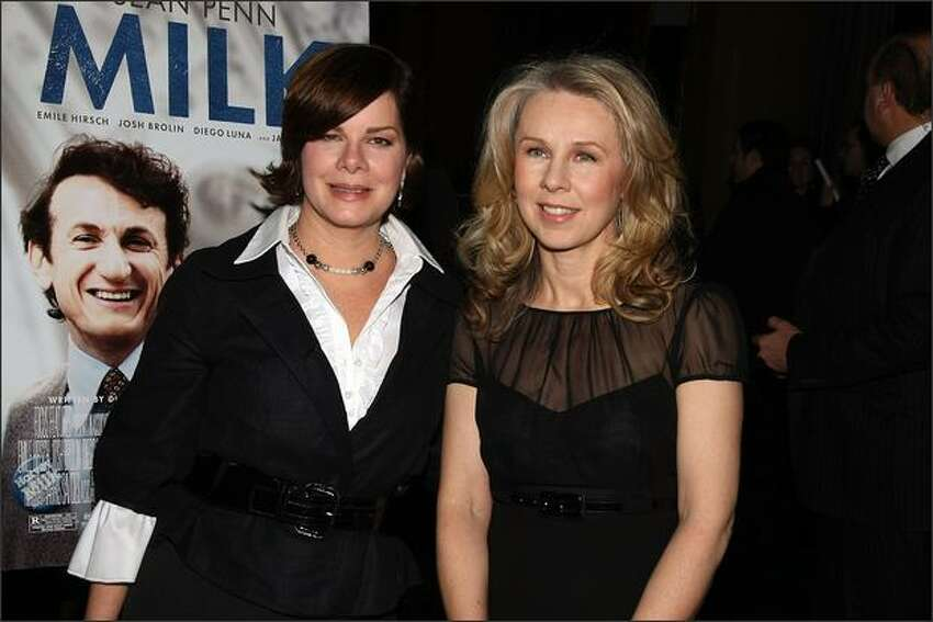Actress Marcia Gay Harden, left, and Courtney Hunt attend the 2008 New York Film Critic's Circle Awards at Strata on Monday in New York City.