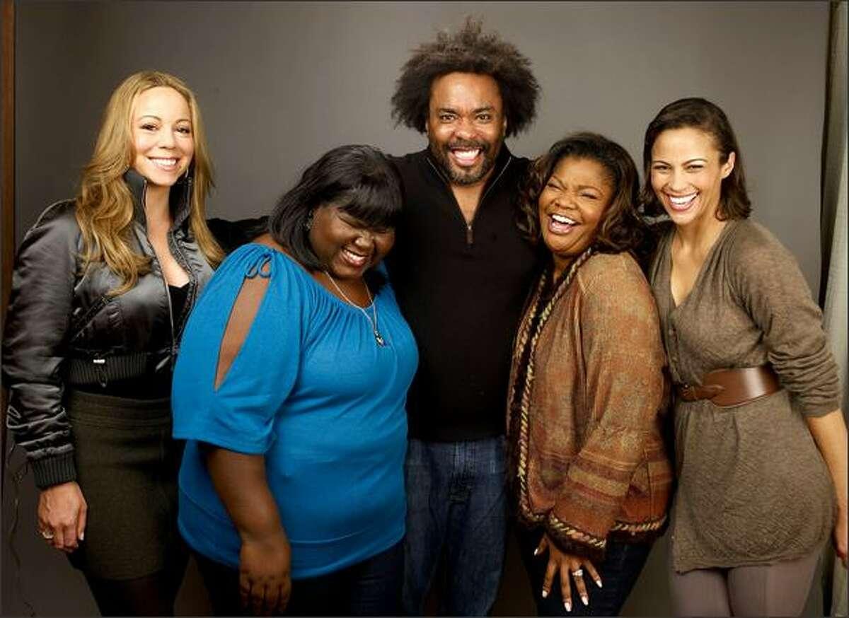 From left, actress/singer Mariah Carey, actress Gabourey Sidibe, director/producer Lee Daniels, actress Mo'Nique, and actress Paula Patton of the film