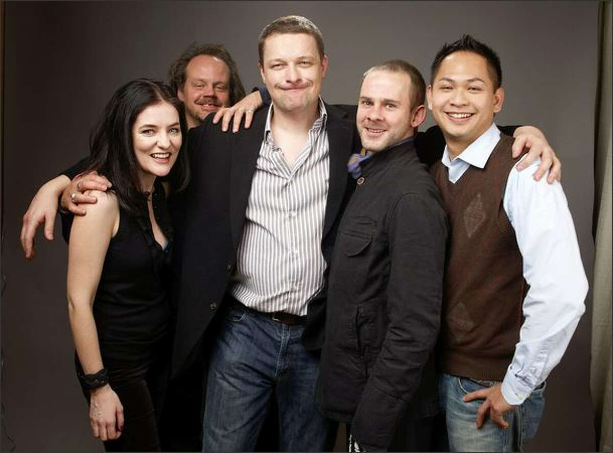From left, actress Brenda Cooney, Larry Fessenden, director Glenn McQuaid, actor Dominic Monaghan and actor Peter Phok of the film