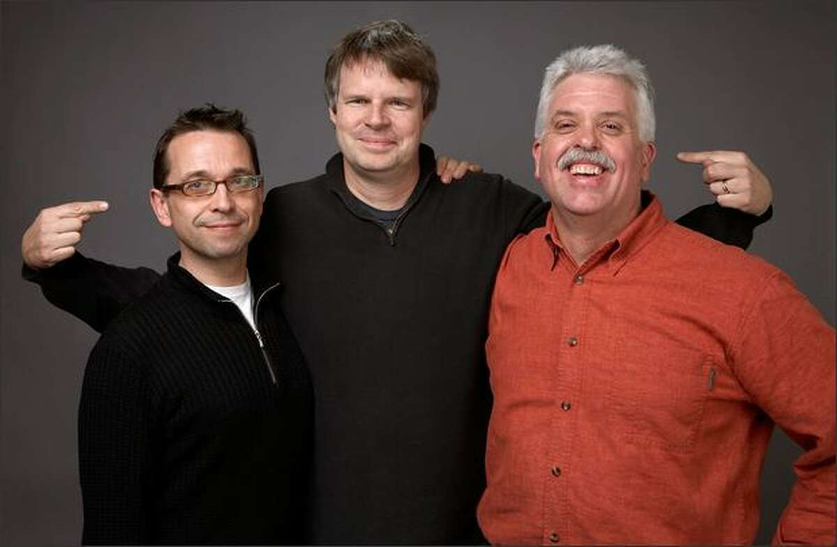 """From left, editor Phillip Owens, director Doug Pray and cinematographer Peter Nelson of the film """"Art & Copy."""""""