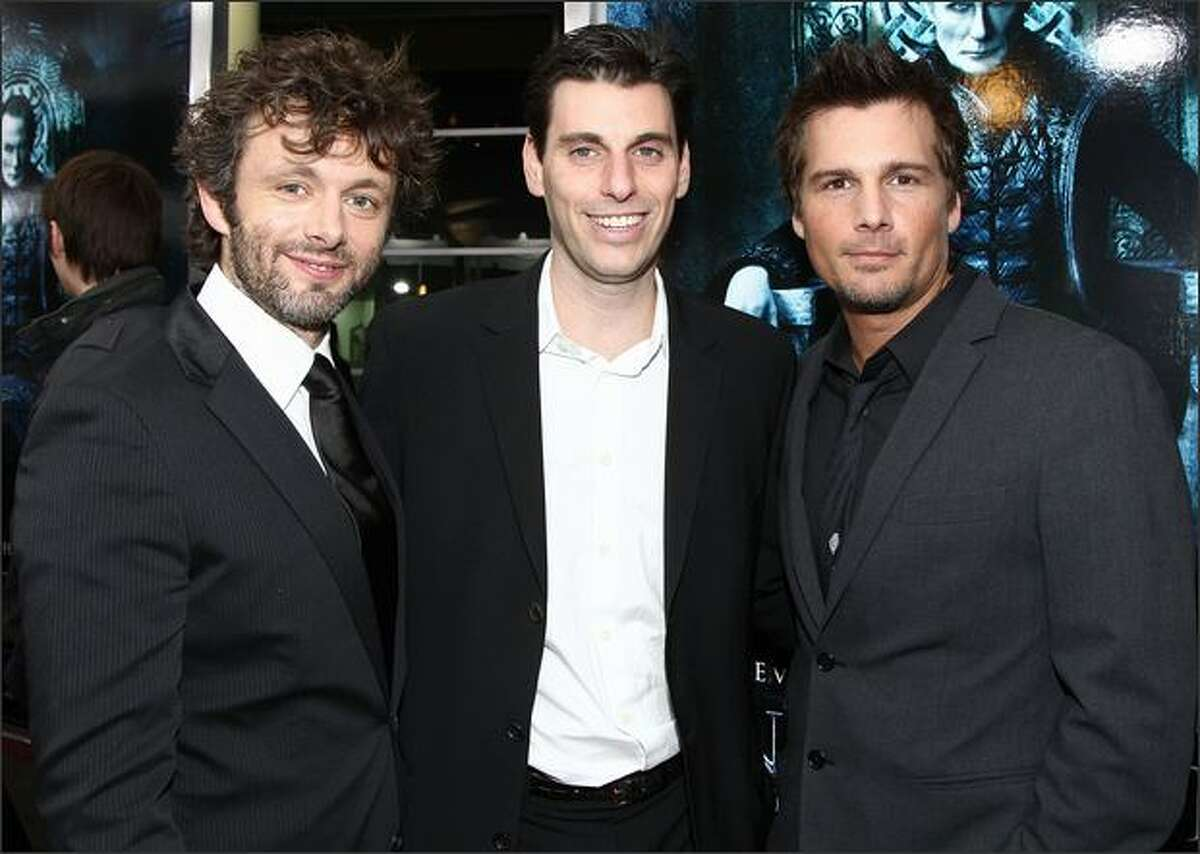 """Actor Micheal Sheen, Sony's Mark Weinstock and producer Len Wiseman arrive at the premiere of Screen Gem's """"Underworld: Rise of the Lycans"""" held at the Arclight Theaters on Thursday in Los Angeles, Calif."""