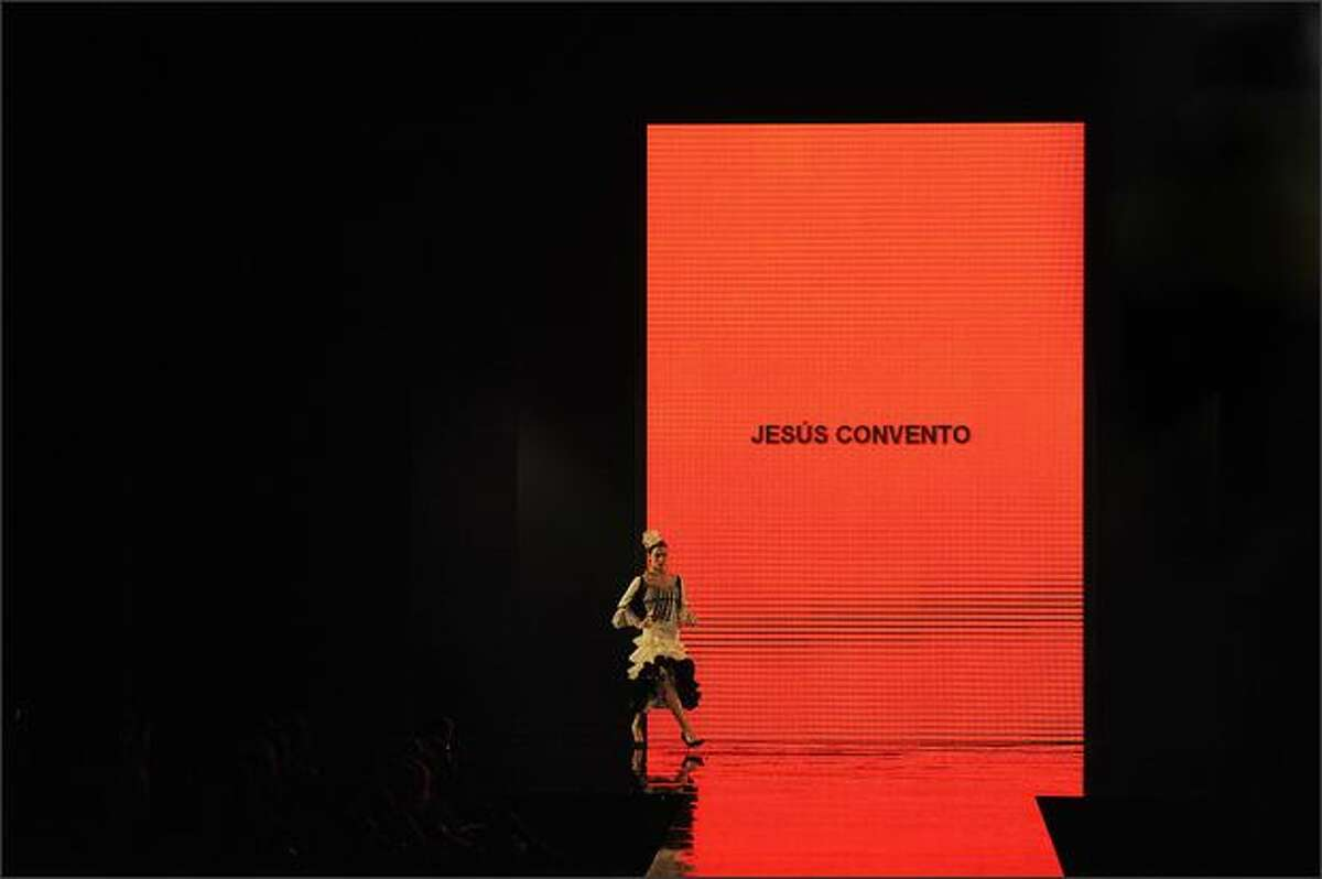 A model presents a creation by Spanish designer Jesus Convento during the Simof 2009
