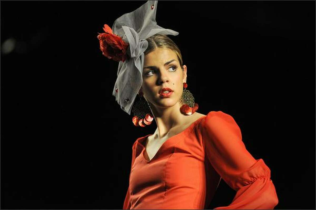 """A model presents a creation by Spanish designer Inma Castrejon during the Simof 2009 """"Salon International of Flamenco Fashion"""" in Seville, on Thursday."""