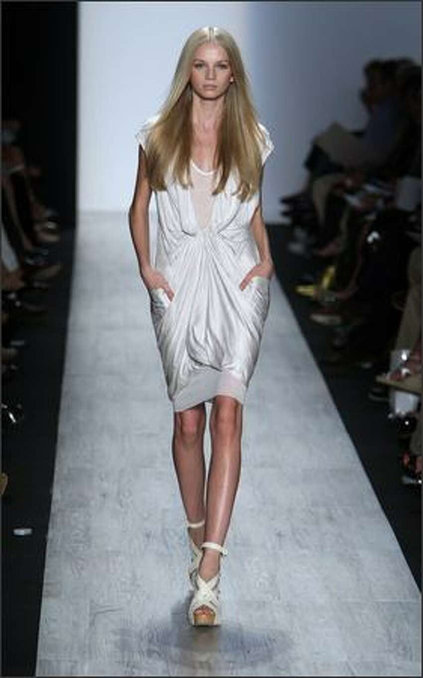 A model walks the runway during the BCBG Max Azria Spring 2009 fashion show during Mercedes-Benz Fashion Week at The Tent in Bryant Park in New York City.