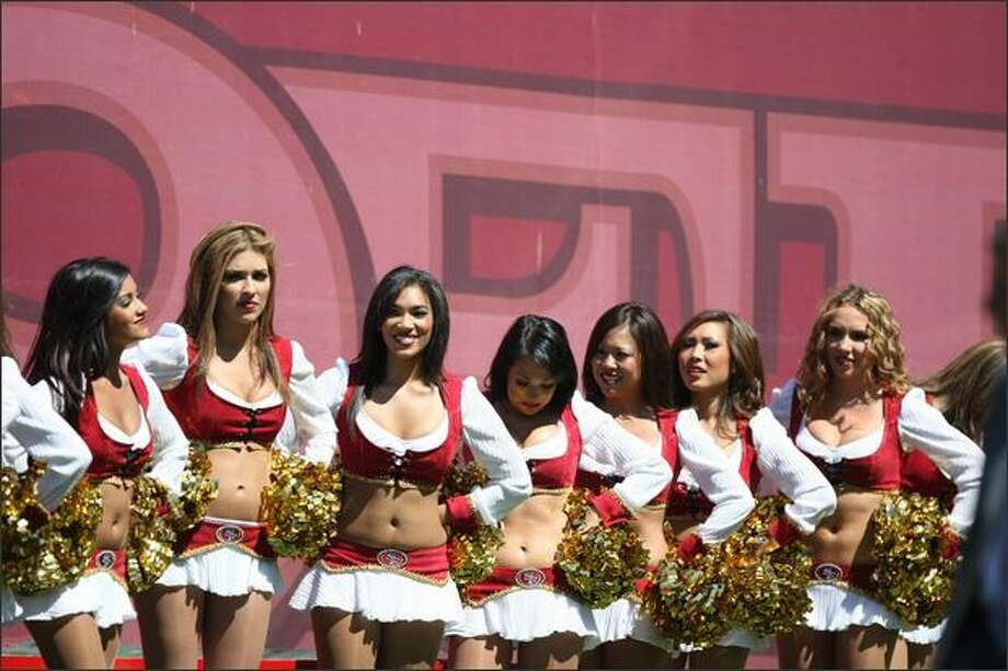 San Francisco 49ers cheerleaders look on during the game against the Arizona Cardinals on Sept. 7. Photo: Getty Images