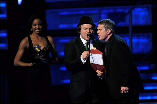 Jack Black and Charlie Haden announce the Best Male Pop Vocal Performance. Photo: Getty Images