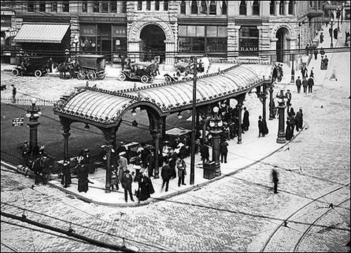From the P-I archives: Pioneer Square's wrought iron pergola was constructed in 1909 at First Avenue and Yesler Street to shelter those waiting for streetcars. The beautiful example of Victorian craftsmanship is now a national historic landmark.