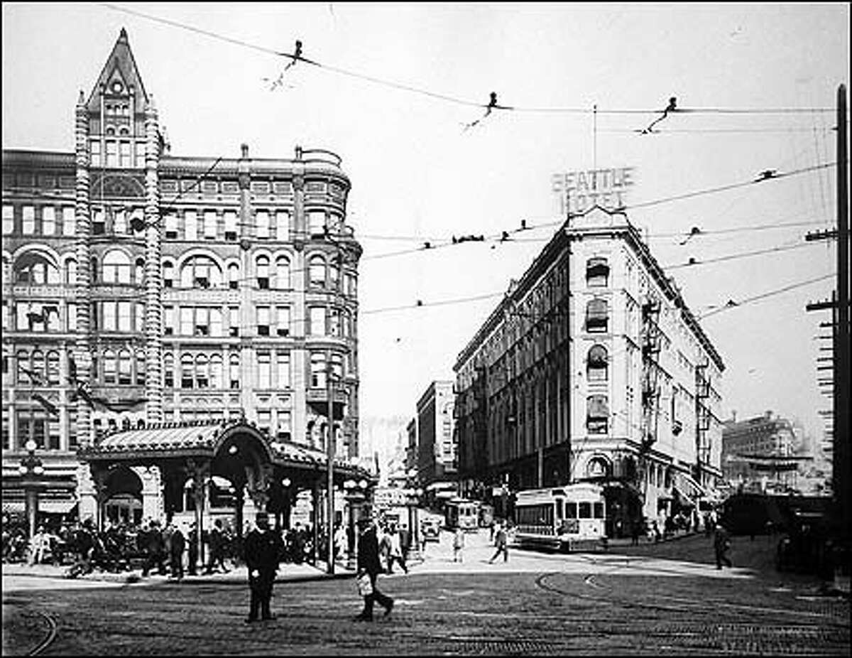 From the P-I archives: The Pioneer Building, above left, has landmark status. It was built in 1892 by Henry Yesler after the Great Fire of 1889 destroyed his nearby sawmill.