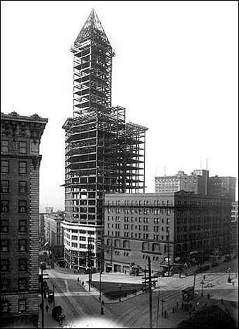 From the P-I archives: Reaching 522 feet, Smith Tower was the tallest building west of the Mississippi when it opened in 1914. The Chinese Room, on the tower's 35th floor, offers one of the best 360-degree views of the city. Guided tours are offered from 11 a.m. to 6 p.m. Photo: P-I File