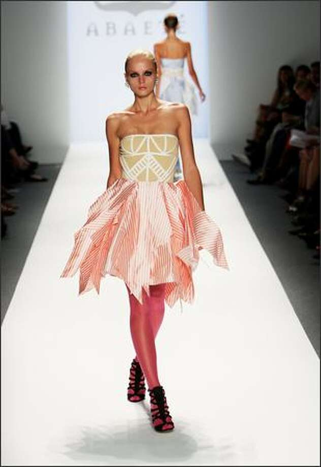 A model walks the runway at the Abaete Spring 2009 fashion show during Mercedes-Benz Fashion Week at The Salon, Bryant Park in New York on Saturday. Photo: Getty Images