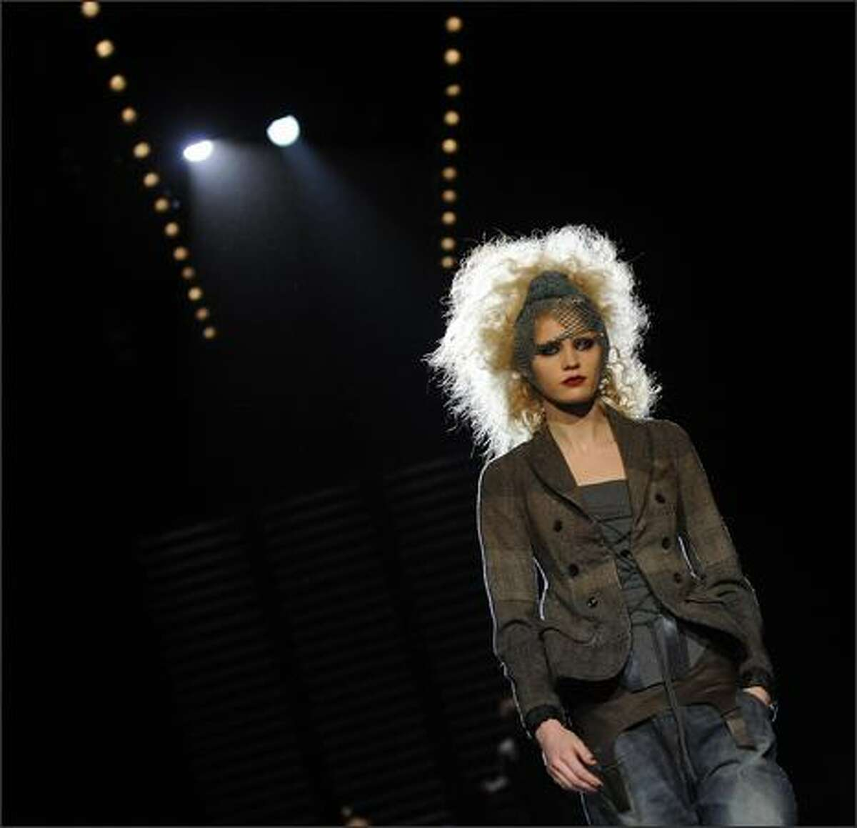 A model displays an outfit of Diesel Black Gold at the 2009 Fall Shows at Bryant park during Mercedes Benz Fashion Week in New York.