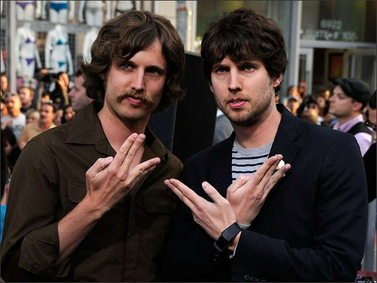 Daniel James Heder and Jon Heder arrive at the premiere of Paramount's