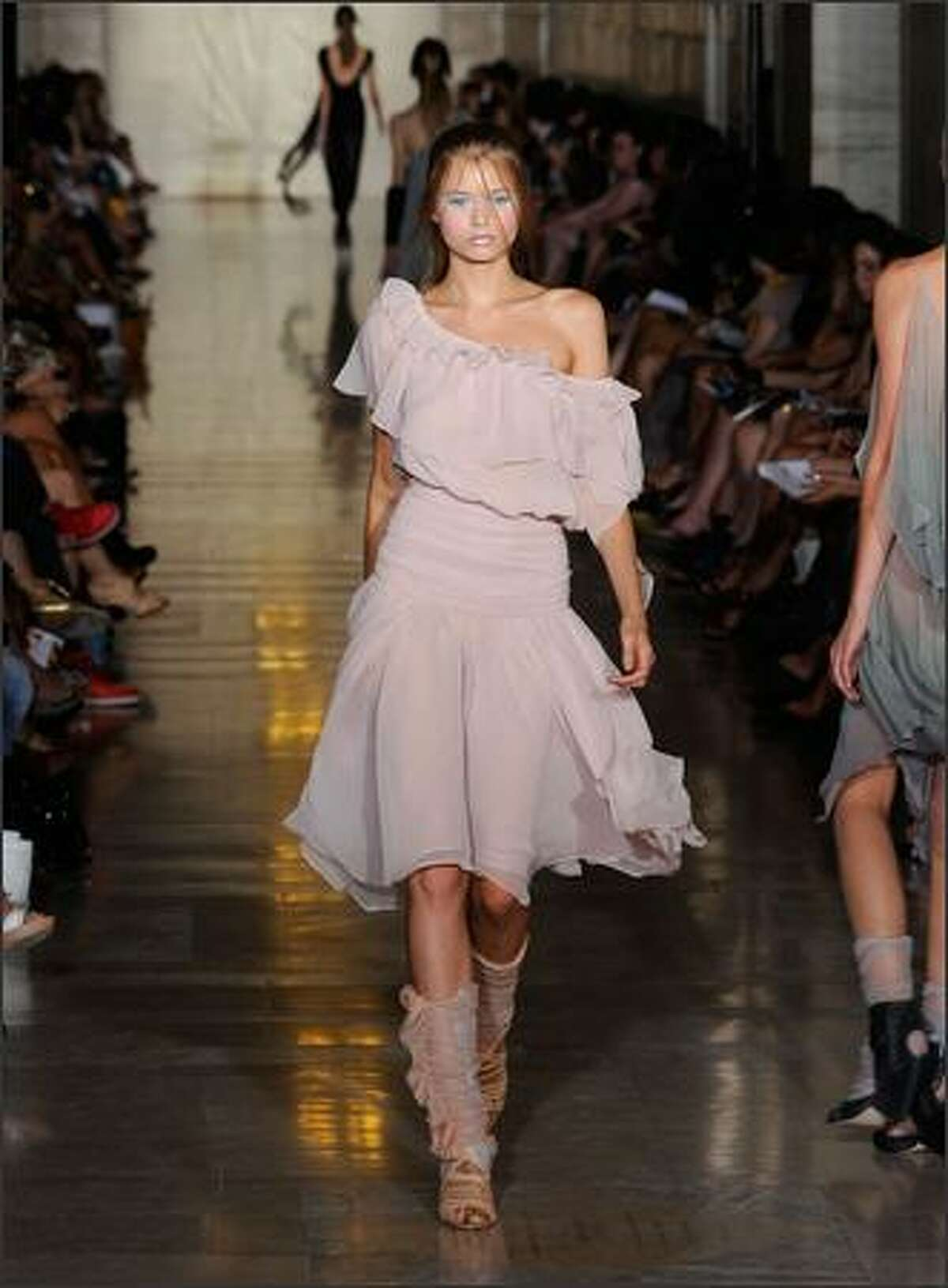 A model walks the runway at the Jill Stuart Spring 2009 fashion show during Mercedes-Benz Fashion Week at Astor Hall/NY Public Library on Monday in New York City.