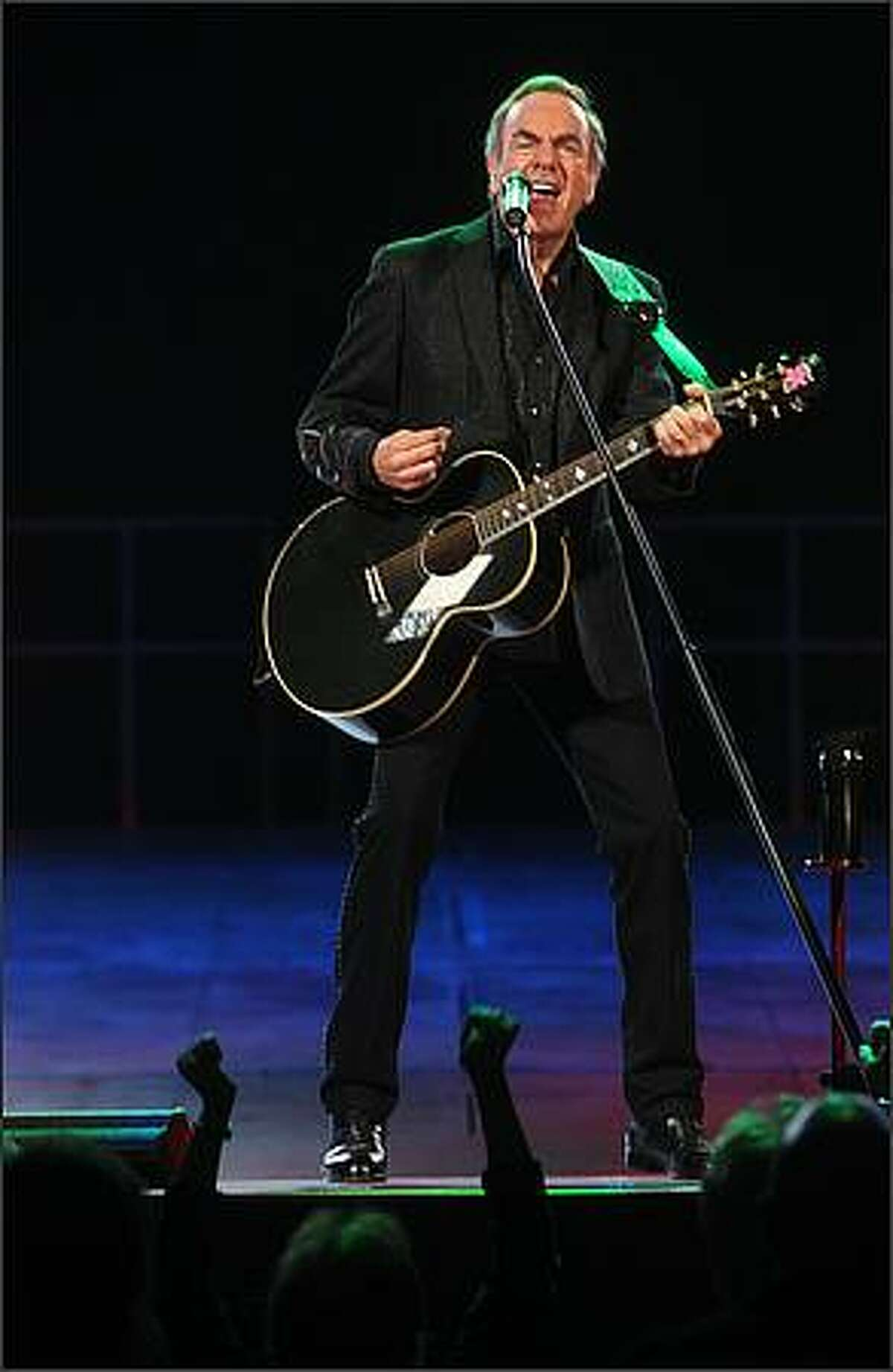 Neil Diamond performs at Key Arena in Seattle on Wednesday night.