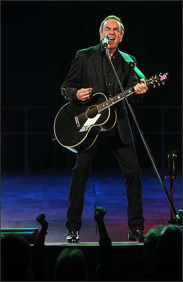 Neil Diamond performs at Key Arena in Seattle on Wednesday night. Photo: Mike Kane, Seattle Post-Intelligencer