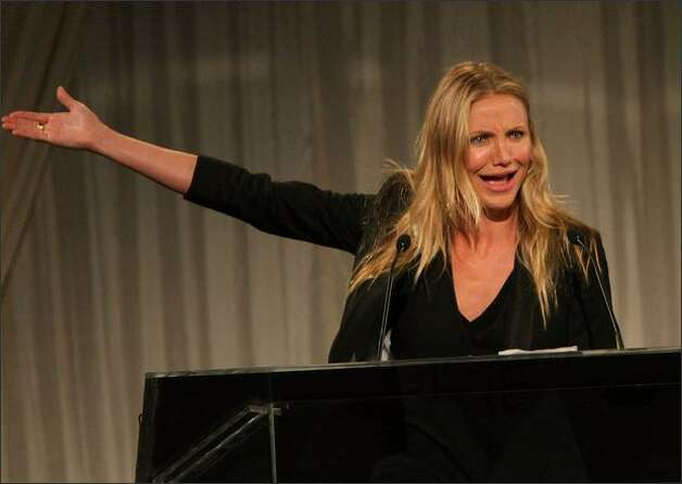 Actress Cameron Diaz presents the Webby Person of the Year Award during the 13th Annual Webby Awards at Cipriani Wall Street on Monday in New York. Photo: Getty Images
